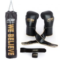 Strike Leather Heavy Punching Bag 150 lbs (Filled) Boxing Gloves Hook and Loop